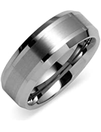 Peora Two Tone Brushed Finish Stripe Tungsten Carbide Ring Band for Men