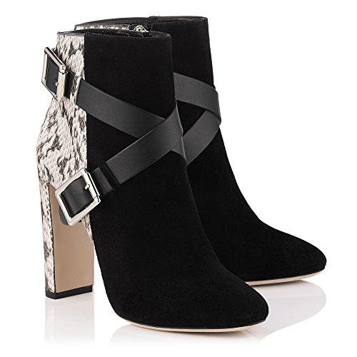 Onlymaker Damen Pumps Kurzschaft Stiefel High-heels Stiletto Stiefeletten Boots Schuhe mit Mandeln Toe Schwarz