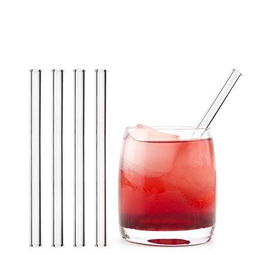 HALM Glas Strohhalme Wiederverwendbar Trinkhalm - 4 Stück kurz gerade 15 cm + plastikfreie Reinigungsbürste - Spülmaschinenfest - Nachhaltig - Glastrinkhalme Glasstrohhalme für Tumbler Cocktailgläser (Kinder-kunststoff-becher Mit Stroh)