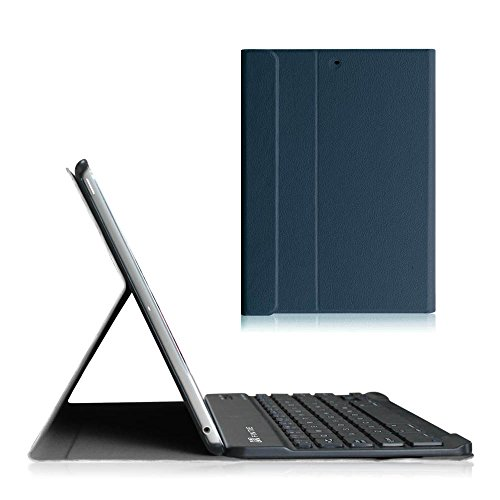 Fintie Tastatur Hülle für iPad Air 2 / iPad Air - Ultradünn leicht Ständer Schutzhülle Keyboard Case mit magnetisch Abnehmbarer drahtloser Deutscher Bluetooth Tastatur, Marineblau (Ipad Air Case Book)