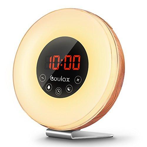 Holz Wake Up Licht Lichtwecker Wecker Sonnenaufgang mit 6 natürlichen Sounds & FM Radio Snooze Funktion Verblassenden Nachtlicht mit 7 Farben Touch Control Nachttischlampe für Erwachsene und Kinder