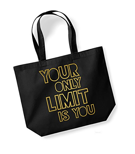 Your Only Limit Is You - Large Canvas Fun Slogan Tote Bag Black/Gold