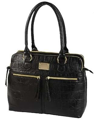 EyeCatch - Kate Vintage Style Croc Triple Zip Womens Handbag Shoulderbag Black