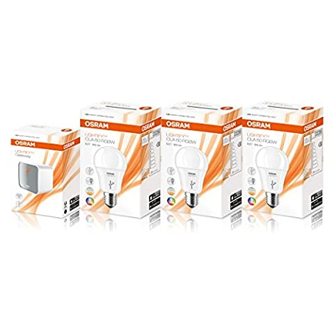 OSRAM Lightify Classic Colour Kit / Including: OSRAM Lightify Gateway and 3 OSRAM Lightify Smart Home Connected LED Light bulb E27 - 10W / 60W - Replacement / Dimmable / Warm White to Daylight 2700K - 6500K - RGBW Color Changing / Works with Alexa