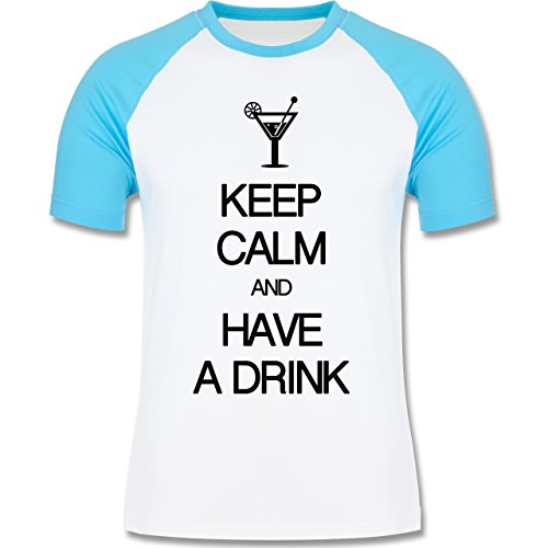 Keep calm - Keep calm and have a drink - zweifarbiges Baseballshirt für Männer Weiß/Türkis