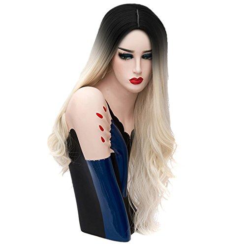 Natürliche Perücke gewellte Locken  mit schwarzem Ansatz 70cm (27.56inch), für Halloween Chirstmas Party Kostüm + Perückennetz eingenäht creamy-Weiß