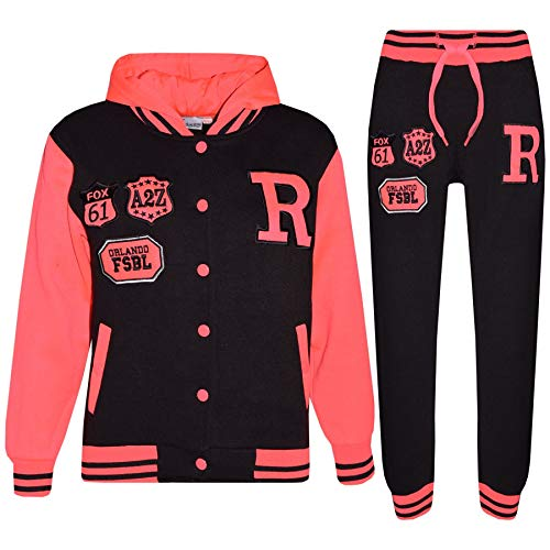 A2Z 4 Kids Kinder Mädchen Jungen Baseball Trainingsanzug - T.S Baseball Fox Black & Neon Pink 2-3