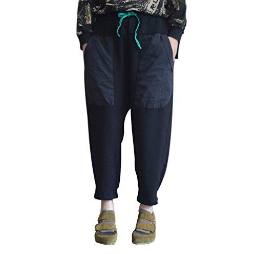 Wanyang donne elegante pantaloni di gamba larga moda donna harem pants elasticità casuale pantaloni neri
