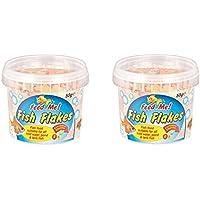2 copos de comida para peces Feed Me para todos los estanques de agua fría y peces, 50 g por bañera