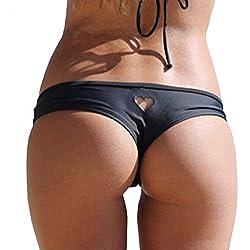 Tuopuda Bikini Bottom Bas de Bikini Sexy pour Femme Noir String Tanga Maillot de Bain Forme de Coeur Maillots de Bain Slip Bikini Brésilien