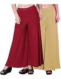 OOPLI :Palazzo Pack-2 Elastic Waist Wide Leg Flared Soft Malai Lycra Palazzo Pants Women's-Free Size