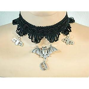Fledermaus Kette aus Spitze schwarz Choker Gothic Steampunk Bat Cosplay Damenkette