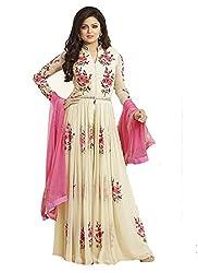 Yeoja Creation Women's Beige Georgette Anarkali Gown Semi Stitched Dress Material(CR11_Freesize_Cream)