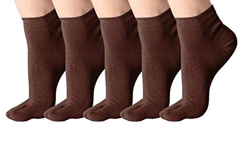 Klassisches weiches elastisches Flipflop-Tabi-Zehe-Socken 5 Paare Mehrfarbig (39-42, #G)