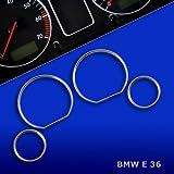 TR10E36 - Cromo velocimetro anillos , ANILLOS CUADRO VEHÍCULO , Gauge Dash cromados bisel , ANILLOS DE INSTRUMENTOS Aros mandos para BMW E36 3er 318 320 323 325 M3 Z3