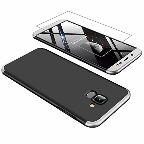 AILZH Samsung J6 2018 Hülle 360 Grad Schutzhülle PC Hartschale Anti-Schock HandyHülle Anti-Kratz Stoßfänger 360° Full-Cover Case Matte Schutzkasten+Gehärteter Glasfilm(Silber schwarz)