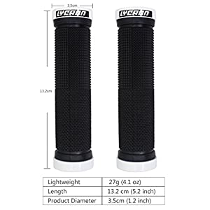 LYCAON Bike Handlebar Grips, Non-Slip Rubber Bicycle Handle Grip with Aluminum Lock, Bike Hand Grip for Scooter Cruiser Urban Bike Tricycle Wheel Chair Mountain Bike Road Bike MTB BMX Foldable Bicycle