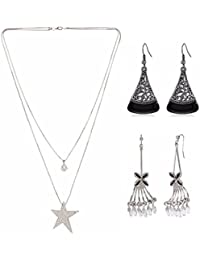 Efulgenz Trendy Combo Of Fashion Stylish Party Wear Statement Necklace With Danglers Earrings Jewelry For Girls...