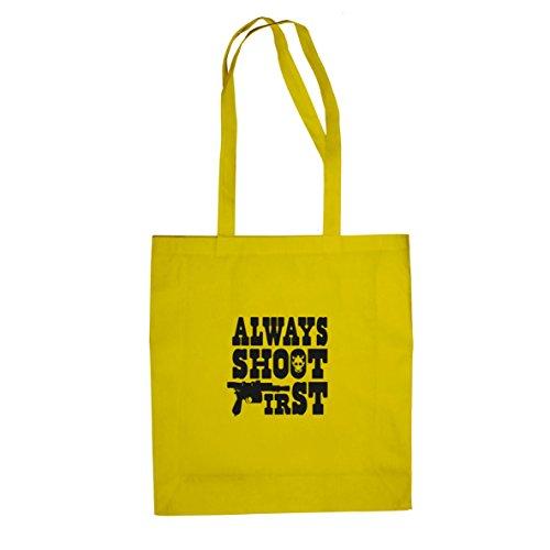 Always shoot First - Stofftasche / Beutel Gelb