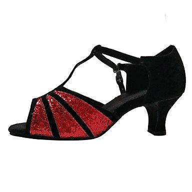 Silence @ Chaussures de danse pour femme en velours Latin/paillettes/paillettes/synthétique Talon cubain Noir/rouge/argenté/doré doré