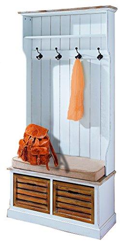 Flur Garderobe Landhaus mit Sitzbank Garderobenschrank Garderobenbank Holz weiß