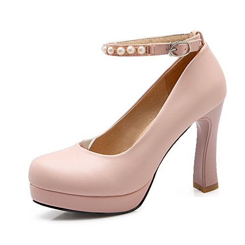 voguezone009-womens-buckle-high-heels-pu-solid-round-closed-toe-pumps-shoes-pink-36
