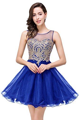 Babyonline® Damen Masche Kurz Abendkleider Brautjunfernkleider Ballkleid Cocktail Mit Applikation Royal Blau