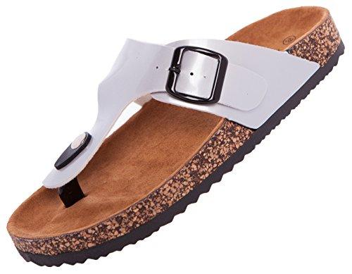 Tieffußbettpantoletten Pantoletten Zehentrenner Sandalen Zehengreifer Comfort Slipper, Damen 0001023 Silber
