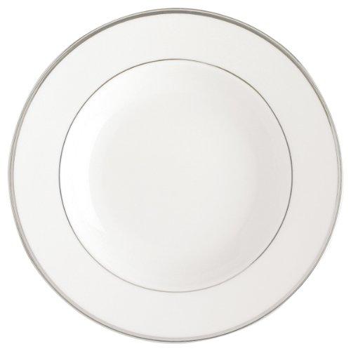 DEGRENNE - Galon Platine Lot de 6 assiettes creuse à aile, porcelaine 22,5 cm - Blanc