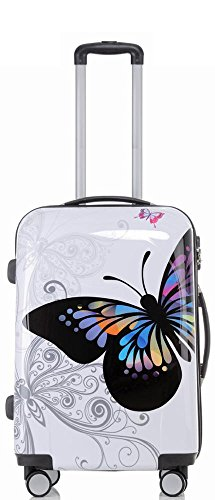 Reise Koffer Trolley mit Polycarbonat ABS Hartschale und Motiv BB (3: 70 Liter - Gr. L, Butterfly)