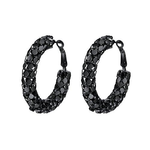 PROSTEEL Damen Ohrringe 40 mm Schwarz Creolen Huggie Hoop Ohrringe Gitter Form Groß Ring Kreis Ohrringe Geschenk Jahrestag Muttertag Weihnachten Valentinstag