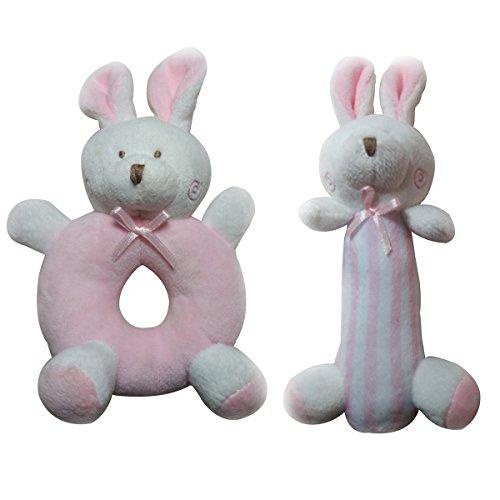 TOYMYTOY 2 UNIDS Bebé Sonajero Peluches de Peluche Juguetes Recién Nacidos Cuna Juguetes Conejos Conejito (Rosa)