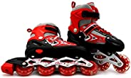 EASY FUTURE Inline Skates Adjustable Size Roller Skates with Flashing Wheels for Outdoor Indoor Children Skate