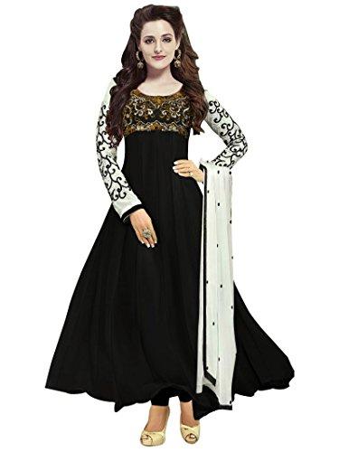 Clickedia Women Faux Georgette Semi-Stitched Anarkali Suit (30008-Black)