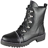 Women Diamante Boots | Women Studded Boots | Women Ankle Boots | Women Zip Boots | Women Goth Punk Boots | Women Lace Up Boots | Women Round Toe Boots | Women Cuban Heel Boots