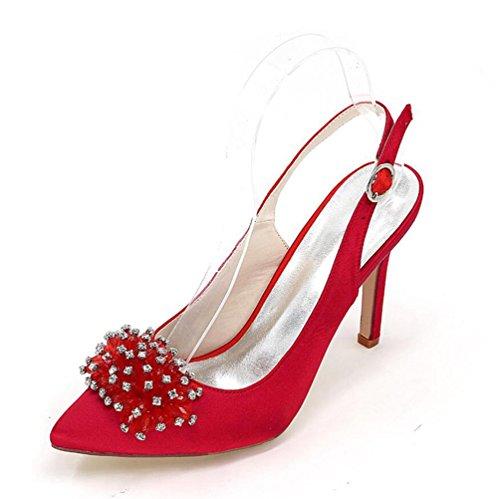 Ei&iLI Raso scarpe da sposa Open Toe femminile Fibbia Tacchi alti Abito da damigella d'onore del partito ER35-EU43 White