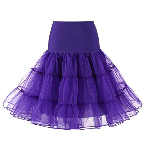 Deep Purple Dress (Yiwa Petticoat Underskirt Retro Vintage Swing Grenadine Dress for Daily Party Wearing Deep Purple,S)