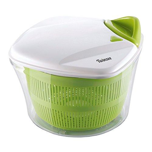 Twinzee Salatschleuder großes Fassungsvermögen (5L) - Innovatives Design mit Ablaufsieb für Das Wasser und Einer Salatschüssel - Effektives und Einfaches Schleudern Dank Ziehgriff