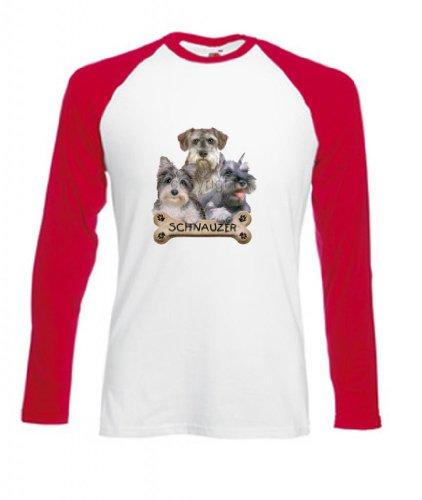 Simply Tees Schnauzer Cuccioli e biscotti da adulto a maniche lunghe maglietta da Baseball Blanco Rojo