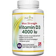 Vitamin D 4000iu - 400 Premium Vitamin D3 Easy-Swallow Micro Tablets - One a Day High Strength Cholecalciferol VIT D3 - Vegetarian Supplement - Made in The UK by Incite Nutrition