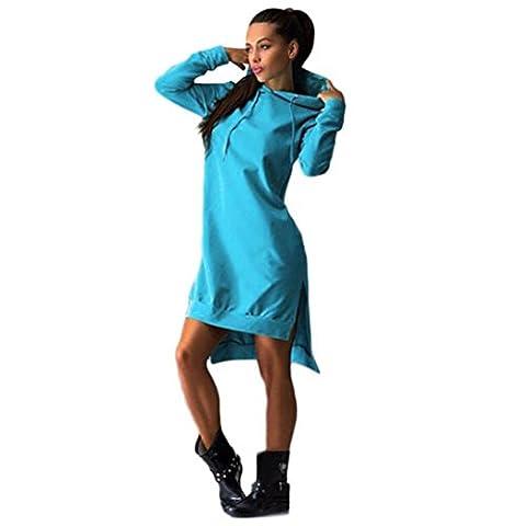 Chemise Femme, Kolylong® Femmes Sweatshirt Robe De Split Double Pull à Capuche Poches Pull (L, Bleu)