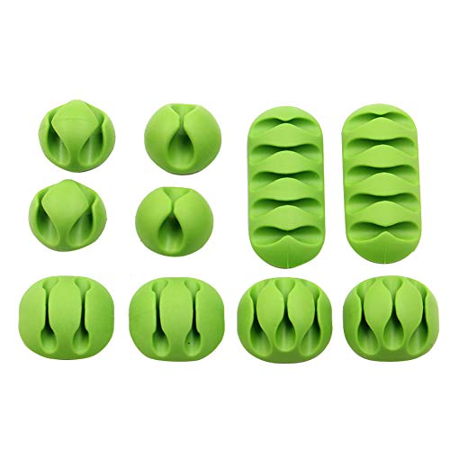 ZqiroLt USB Hub, 10Pcs Double Five Charger Cable Winder Wire Holder Clip Line Organizer-Green