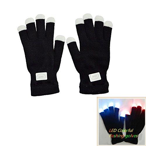 (Namsan Bunte und 7-Mode-LED Rave Blinklicht Glow Finger-Handschuhe für Clubs, Festivals, Weihnachten, Laufen, Radfahren, Sports)