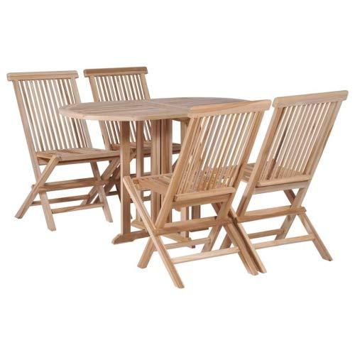 vidaXL Jeu de Table et chaises à Manger Pliant 5 pcs Teck Massif