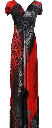 QIYUN.Z Blume Blumen Damen V-Ausschnitt Ärmellose Lange Maxi Strandkleid Hawaiian Kleid rot 30