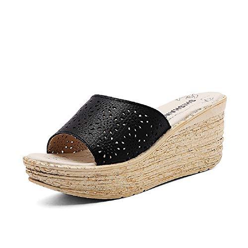 Oudan Sommerhang mit Damensandalen und Pantoffeln - Frauenplattformplattform mit Keilen, sexy Mode (Farbe : Schwarz, Größe : EU 39) (Botas De Mujer Altas)