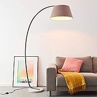 Elegante lampada ad arco con piedistallo, 1,9 x 1,2 m, 1 attacco da E27, massimo 60 Watt in cemento, metallo e tessuto, colori: marrone e grigio