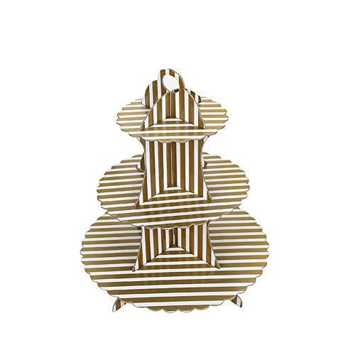 ake-Ständer rund gestapelt Kuchen Muffin Display Lebensmittel Ständer aus Karton für Hochzeiten Geburtstag Halloween Weihnachten Party (weiß), Pappe, Gold Stripe, 34,5 cm ()