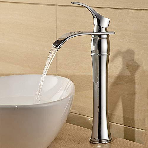 Auralum Wasserhahn Bad Armatur Waschtischarmatur mit Hoher Wasserfall Auslauf für Badezimmer Waschbecken