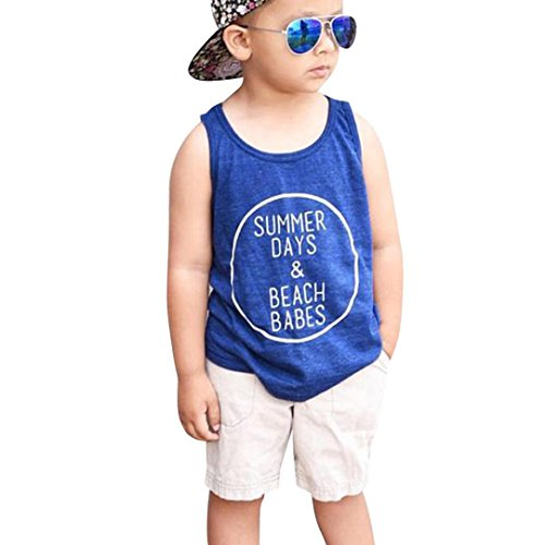 Kinderbekleidung Bekeleideung Sommer Kleidung Brief Print Weste T-shirt Kurze Hosen Kleidung Outfits Set Neugeborene Boy Kinder jungen Tops Hosen Bekleidungssets LMMVP (0Jahre-5Jahre) (Blau, 90CM) (Höschen Print Stück 3)